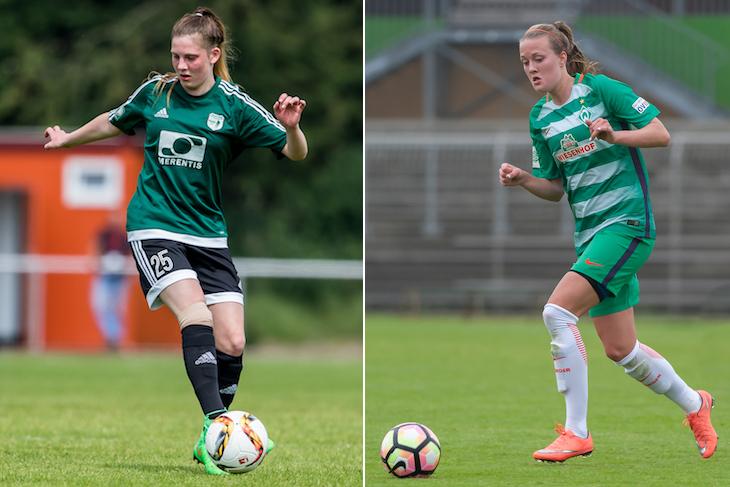 Selina Peters (SC Weyhe, l.) und Stefanie Sanders (SV Werder Bremen) treten in verschiedenen Rollen mit ihren Teams an. (Fotos: dgphoto.de & Oliver Baumgart)