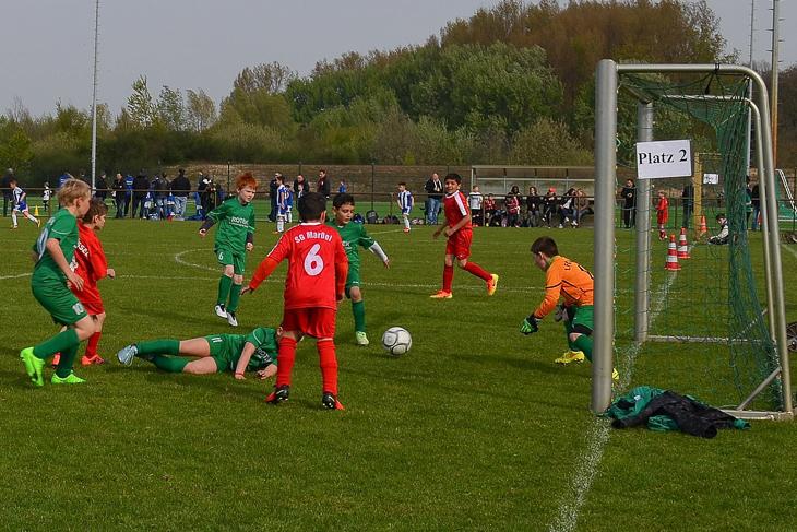 Spielszene aus dem Spiel SG Marßel - 1. FC Burg. (Foto: Christina Nordhold)
