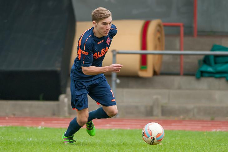 Malte Tietze traf für den Blumenthaler SV gleich drei Mal gegen den VfL 07 Bremen. (Foto: Oliver Baumgart)