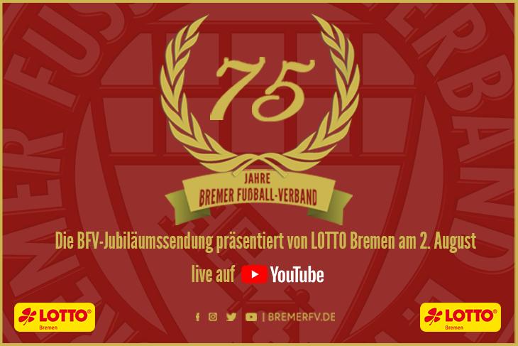 Das 75-jährige Jubiläum des BFV wird am 2. August live auf YouTube übertragen. (Grafik: David Dischinger)
