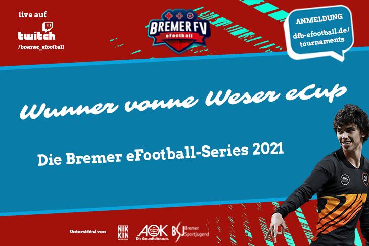 Das zweite Turnier der Bremer eFootball-Series 2021 - der Wunner vonne Weser eCup! (Grafik: David Dischinger)