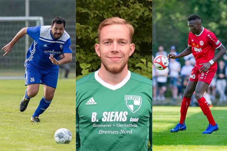 """Gökhan Yücel, Christian Böhmer und Ebrima Jobe (v.l.) sind die Kandidaten für den """"Amateurfußballer des Jahres"""". (Fotos: Oliver Baumgart & Holger Franz)"""