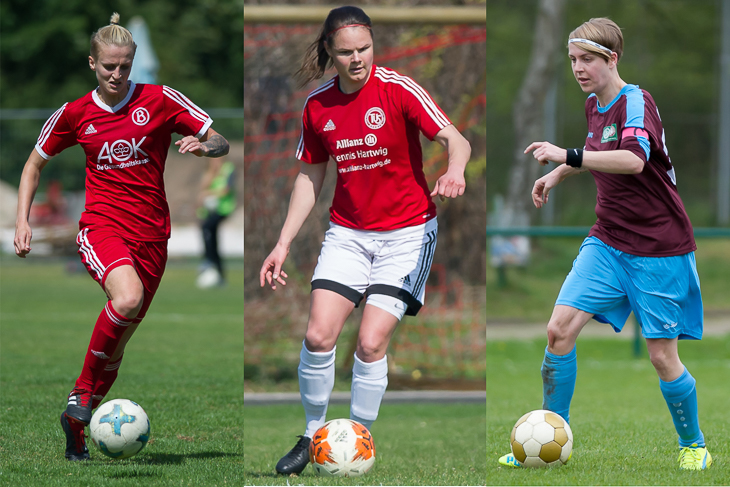 """Aline Stenzel, Kira Buller und Melanie Rethmeyer (v.l.) können """"Amateurfußballerin des Jahres"""" werden. (Fotos: Oliver Baumgart)"""