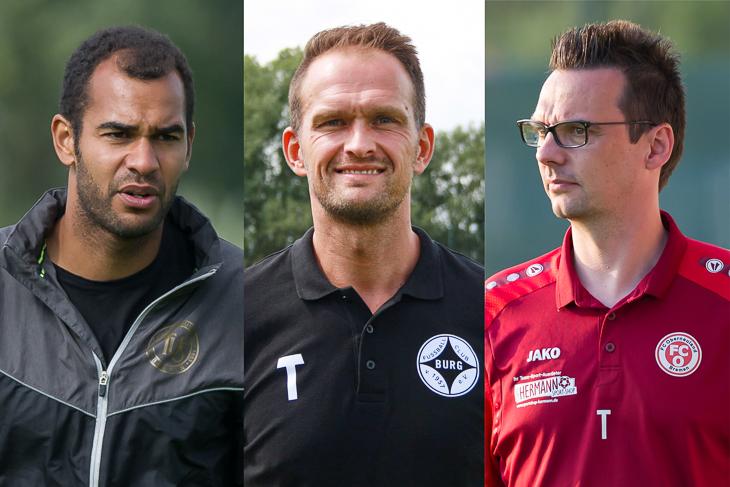 """Die Anwärter auf den Titel """"Amateurtrainer/in des Jahres"""" sind Benjamin Eta, Sascha Steinbusch und Kristian Arambasic (v.l.). (Fotos: Oliver Baumgart & 1. FC Burg)"""
