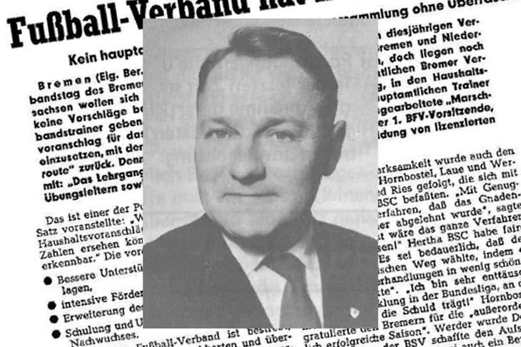Herbert Bischoff wurde 1964 Vorsitzender des Bremer Fußball-Verbandes. (Foto: Archiv)