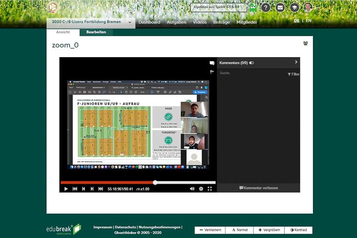 PC-Monitor statt Lehrgangsraum. Erstmals führte der BFV eine Trainerfortbildung online durch. (Screenshot: BFV)